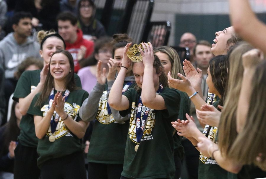 Fremd High School's Ella Burns earned special recognition during a school assembly Monday for winning the state's Queen of the Hill 3-point shooting contest over the weekend, when she and her teammates also won the girls basketball program's first state championship.
