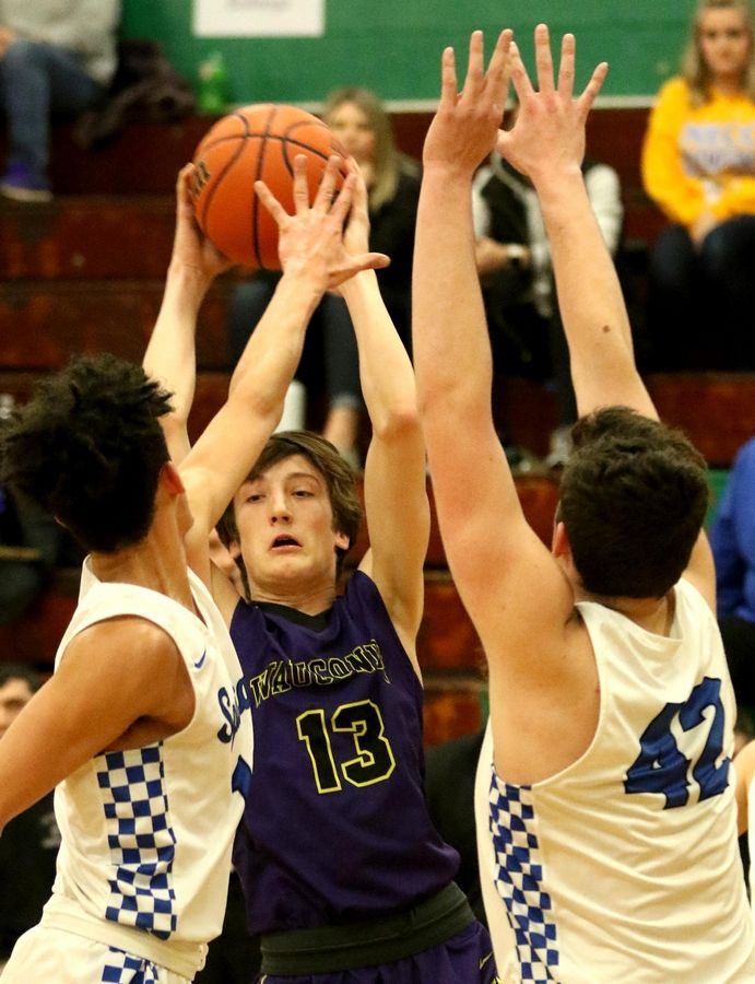 Wauconda's Griffin Daun looks for an option against St. Francis in Class 3A Rockford Boylan boys basketball sectional semifinal action Tuesday night.