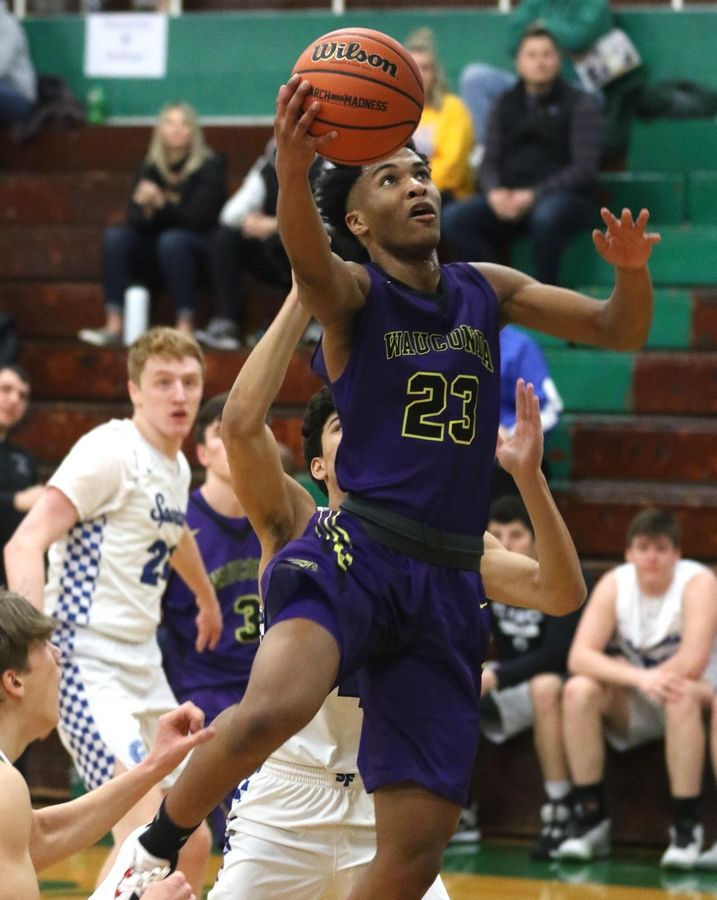 Wauconda's Donovan Carter moves to the net against St. Francis in Class 3A Rockford Boylan boys basketball sectional semifinal action Tuesday night.