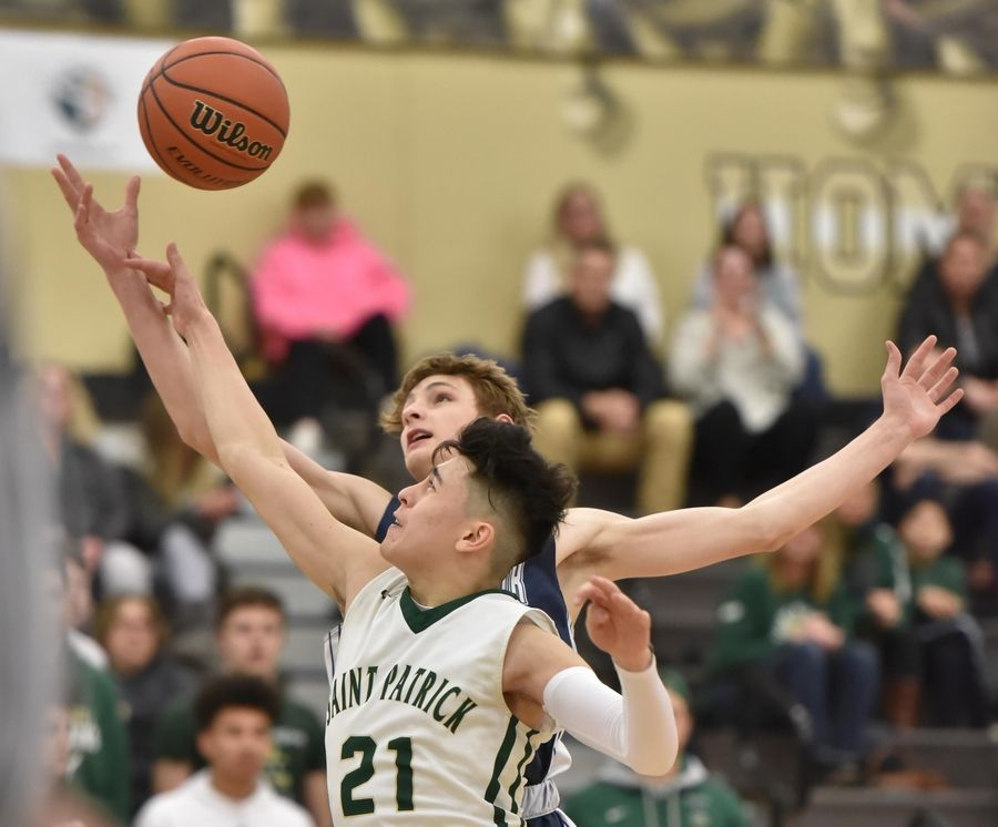 St. Viator's Connor Benson and St. Patrick's Caleb Corro reach for a rebound in a Class 3A sectional semifinal boys basketball game in Grayslake Wednesday.