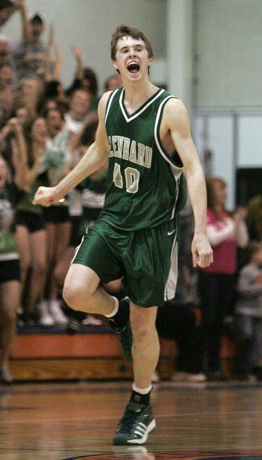Glenbard West's John Shurna reacts after a basket late in a 2008 game against Naperville Central.
