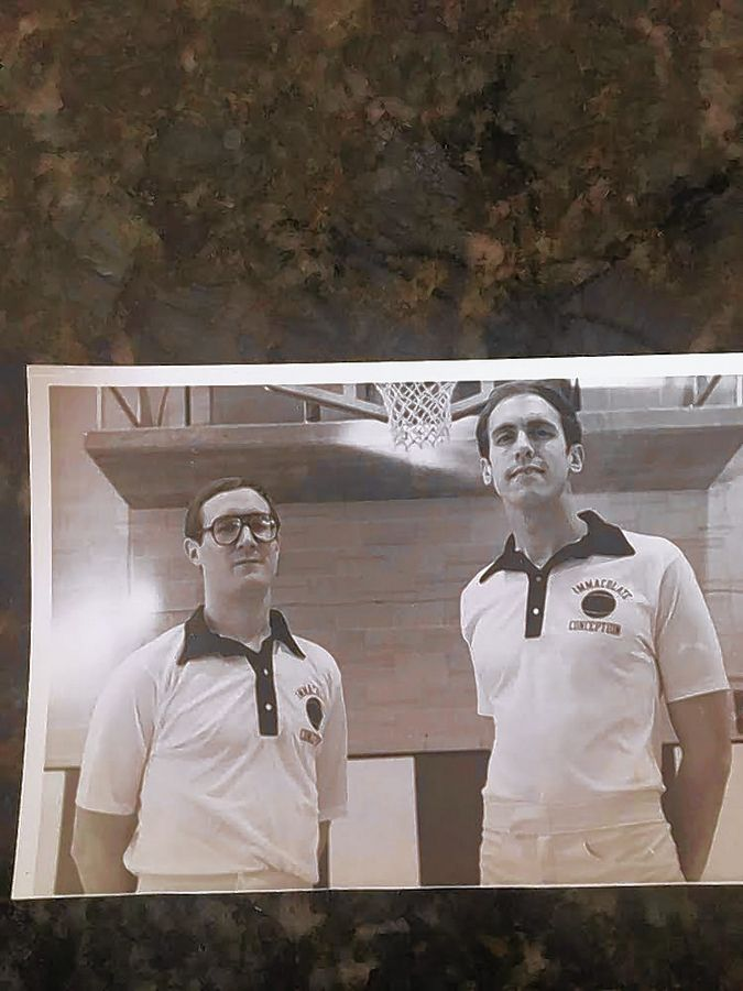 SUBMITTED PHOTOLongtime high school basketball coaches Tom McCormack, left, and Tom Anstett once coached together at IC Catholic Prep.