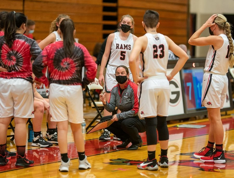 Glenbard East's head coach Nicole Miller talks to her players during a game in Lombard Feb. 18